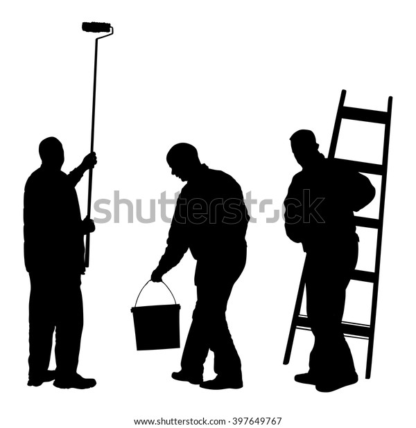 Painter Decorator Sign Stock Vector: Painter Workers Ladder Vector Silhouette Isolated Stock