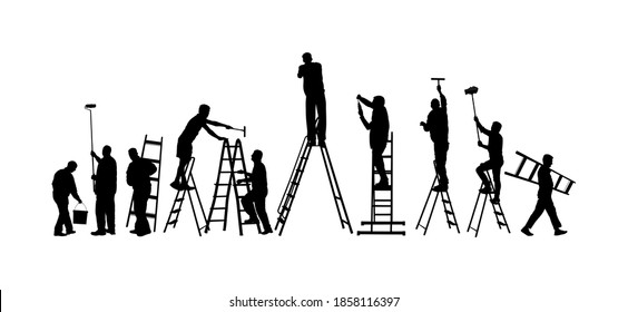 Painter workers on ladder vector silhouette isolated on white. Man decorator painting wall with paint brush roller. Crew renovation home. Handyman move in job. Washing window cleaning service action