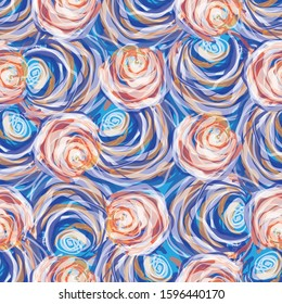 Painterly rose floral motif vector watercolor background. Seamless flower repeat pattern.