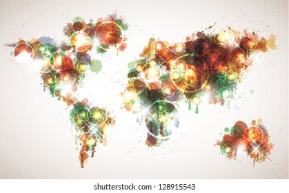 Painterly world map done in a warm contemporary color scheme.