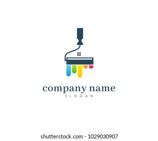 Painters Company Name Logo, Painting Logo, Home, House, Full Color Vector Template