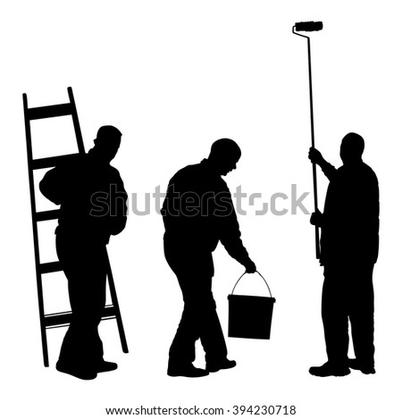 Painters Painting Work Vector Silhouette Illustration Stock