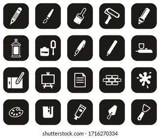 Painting & Art Equipment Icons White On Black Flat Design Set Big