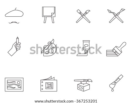 250322c8d8829 Painting Artist Icons Outlines Artworks Drawing Stock Vector ...