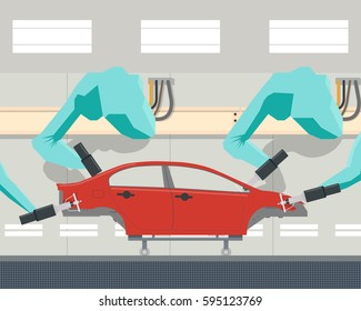 Painting car body using a robot manipulator. Vector illustration