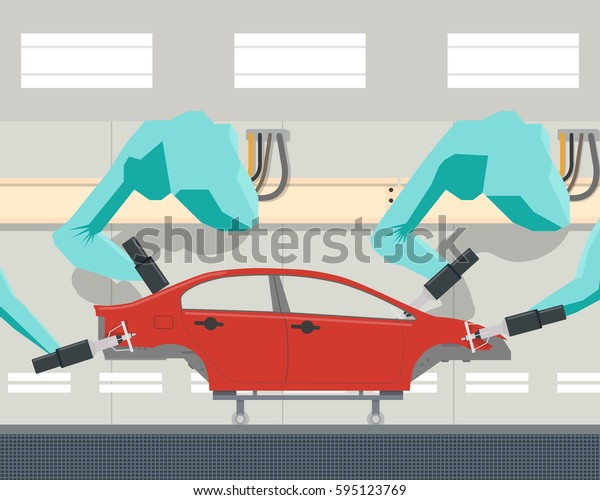 Painting car body using a robot manipulator. Vector illustration