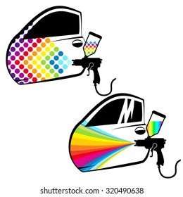 Painting cars and car parts vector
