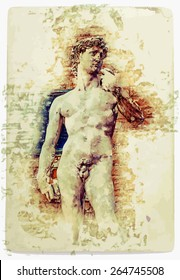 Painting of David of Michelangelo, vintage postcard background for Italy, Florence