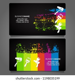 Painting different types of business card concept