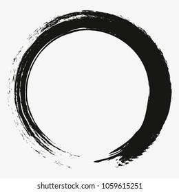 Painting Enso Zen Circle Brush Vector Illustration.