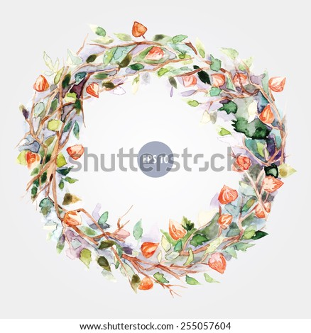 painting flowers, circle foliage. Watercolor wreath