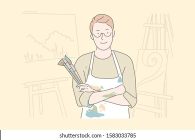 Painting hobby, art studio, workshop concept. Male painter in apron holding paintbrushes, young talented artist, drawing class teacher surrounded with pictures. Simple flat vector