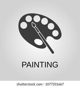 Painting icon. Painting symbol. Flat design. Stock - Vector illustration