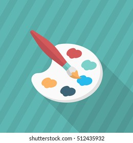Painting icon , Vector flat long shadow design. In education concept.