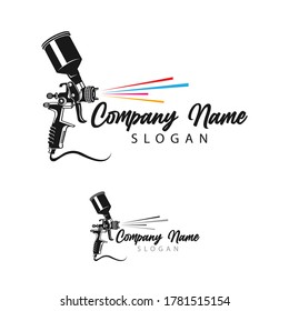 Painting logo designs template vector, Art Logo template, Spray Gun Painting logo