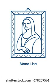 Painting The Mona Lisa.The linear vector emblem icon. The famous painting of Leonardo da Vinci.