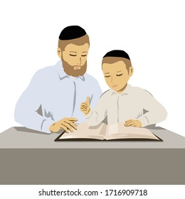 A painting of Orthodox religious father and son studying Torah. Vector illustration of 2 flat figures with buttoned shirts and caps.