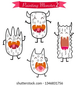 painting pages for cute monster vector