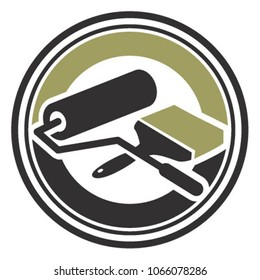 Painting roll and brush Service emblem logo vector
