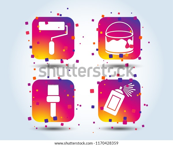 Painting Roller Brush Icons Spray Can Stock Vector (Royalty