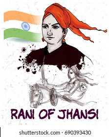 painting style illustration of indian freedom fighter rani of jhansi
