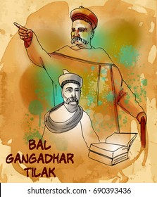 painting style illustration of indian freedom fighter bal gangadhar tilak