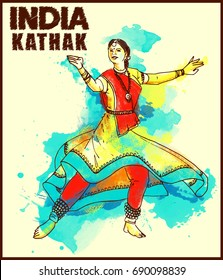 painting style illustration of indian kathak dance form