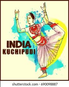 painting style illustration of indian kuchipudi dance form