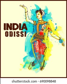 painting style illustration of indian odissi dance form