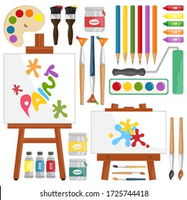 Painting supplies, digital clip art, painting and brushes, art party, personal and commercial use, vector illustration