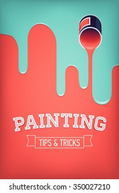 Painting tips and tricks concept abstract illustration with opened paint bucket spilling paint. Ideal for home decor tutorials, DIY project guides, web sites and blogs