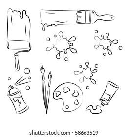Painting tolls Vector Sketch Set