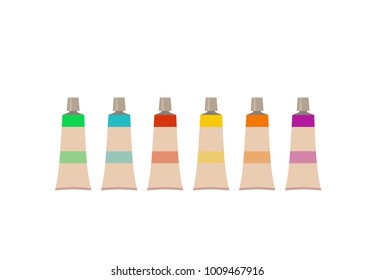 Painting  tools elements cartoon colorful vector set. Art supplies:  brushes, watercolor,Drawing creative materials for workshops designs