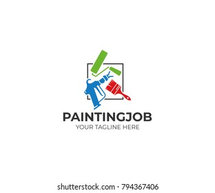 Painting tools logo template. Roller brush and airless spray gun vector design. House painting service illustration