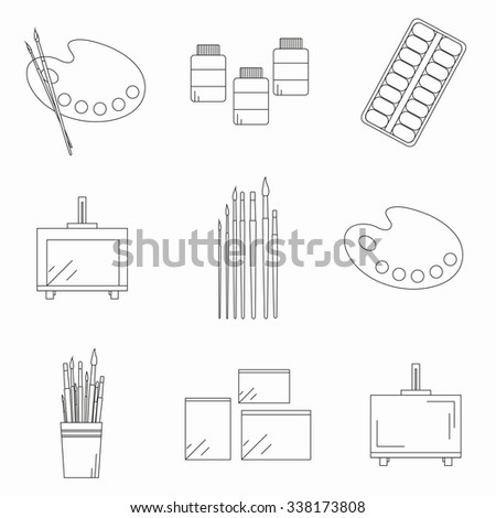 Painting Tools Set Linear Icons Palette Stock Vector (Royalty Free