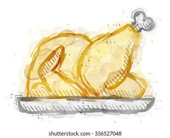 Painting of turkey, chicken with watercolor effect. Outline sketch of christmas turkey painted colors. Vector image for cooking, holiday meals (christmas, thanksgiving), recipes, gastronomy, food, etc
