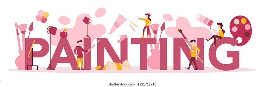 Painting typographic header concept. Male and female artist standing in front of big easel or screen, holding a brush and paints. Artist painting. Isolated flat vector illustration