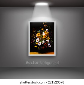 Painting of vase with flowers hanging from dark gallery wall. Fully editable eps10