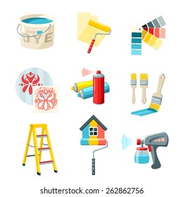 Painting work decorative icons set with bucket roller color palette isolated vector illustration