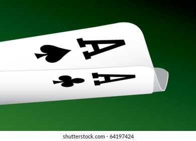 Pair Aces Poker Players Point View Stock Vector Royalty Free 64197424