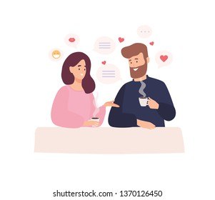 Pair of adorable man and woman sitting at cafe table, drinking coffee and talking. First romantic date with person found through dating website or application. Flat cartoon vector illustration.
