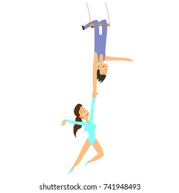 pair of aerial acrobats perform in the circus. vector