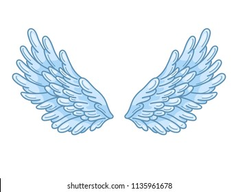 A pair of angel wings with sky blue feathers, wide spread. Contour drawing in modern line style with volume. Vector illustration isolated on white.