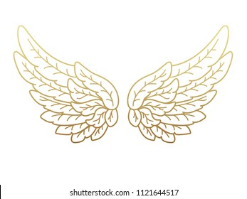 A pair of angel wings, wide open with golden metallic effect. Contour drawing in modern flat line style. Vector illustration, isolated on white.