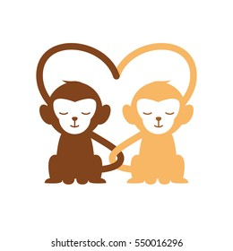 a pair of animal creating love sign - monkey