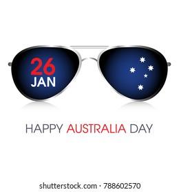 A pair of aviator sunglasses with 26 January Australia Day design.