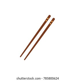Pair of bamboo Asian, Chinese, Japanese chopsticks, flat style vector illustration isolated on white background. Two, couple, pair of traditional flat style chopsticks, Chinese, Japanese, Thai cuisine