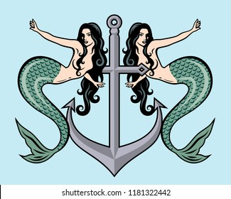 Pair of beautiful mermaids with long hair on the background of the anchor in the traditional style of Old school tattoo pin-up