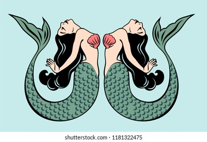 Pair of beautiful mermaids with long hair in the traditional style of Old school tattoo pin-up