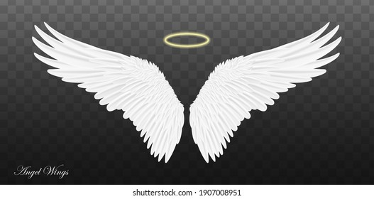Pair of beautiful white angel wings isolated on transparent background. Vector concept white cute feathered wing animal on a transparent background.